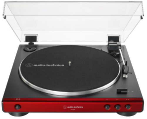 Audio Technica AT-LP60X-RD Fully Automatic Belt-Drive Turntable 33/45 RPM Speeds with Phono Preamp Includes Dust Cover and Dual Magnet Phono Cartridge (Red/Black)