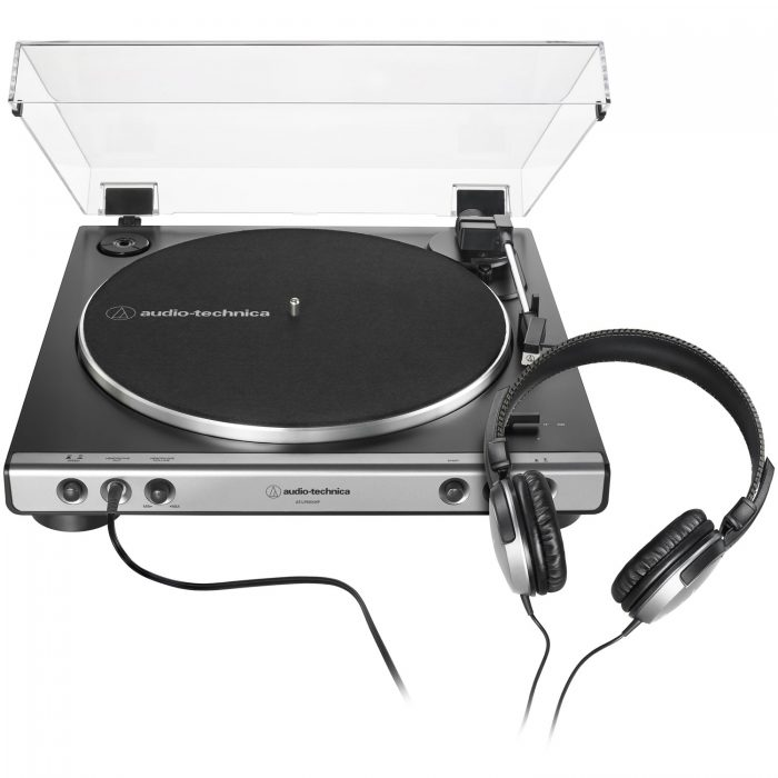 Audio Technica AT-LP60XHP-GM Fully Automatic Belt-Drive Turntable Integrated Headphone Amp and Jack 33/45 RPM Speeds with Phono Preamp Includes Dust Cover and Dual Magnet Phono Cartridge (Gun Metal/Black)